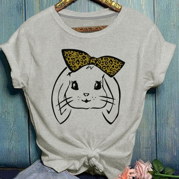 Lovely Casual O Neck Cartoon Print Grey Plus Size T-shirt