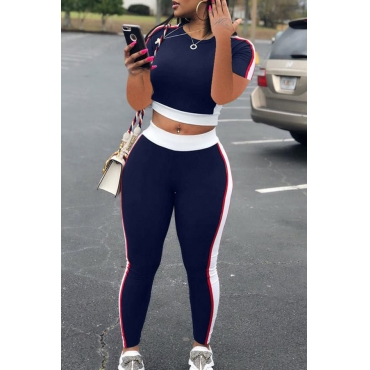 Lovely Casual Patchwork Navy Blue Plus Size Two-piece Pants Set