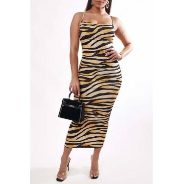 Lovely Trendy Tiger Stripes Ankle Length Dress