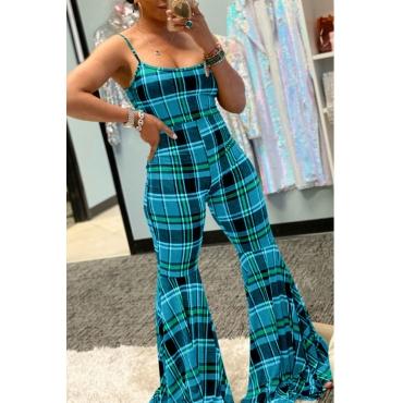 Lovely Trendy Grid Print Blue One-piece Jumpsuit