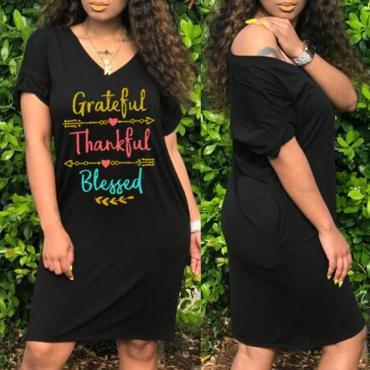 Lovely Casual V Neck Letter Black Knee Length T-shirt Dress