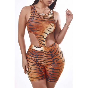 Lovely Sexy Tiger Stripes Two-piece Shorts Set