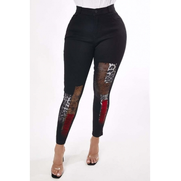 Lovely Casual Print Black Jeans