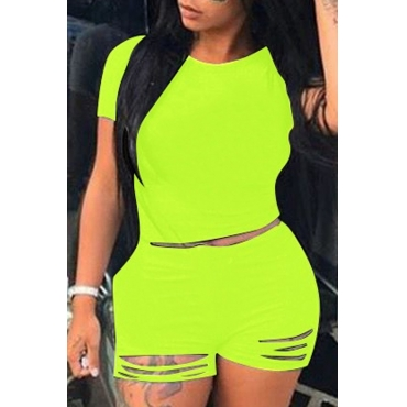 Lovely Trendy Hollow-out Green Plus Size Two-piece Shorts Set