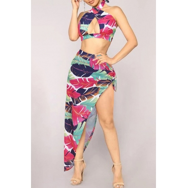 Lovely Print Rose Red Two-piece Swimsuit