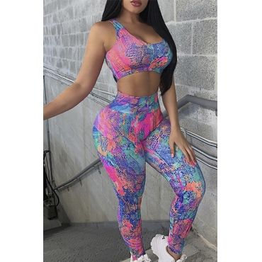 Lovely Sportswear Print Multicolor Two-piece Pants Set