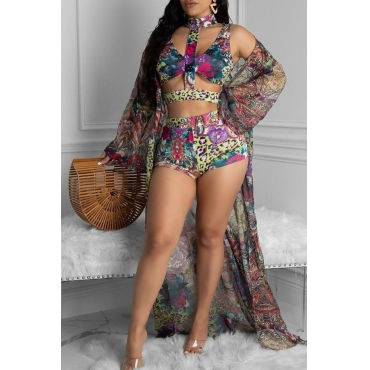 Lovely Print Multicolor Two-piece Swimsuit(With Cover-Up)