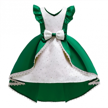 Lovely Sweet Patchwork Green Girl Knee Length Dress