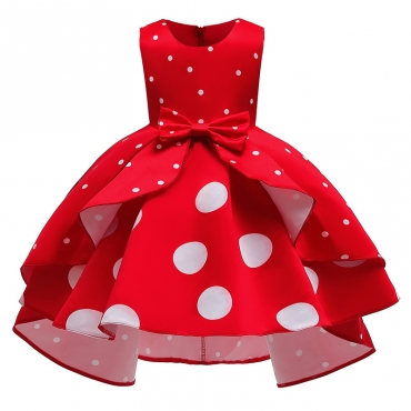 Lovely Sweet Dot Print Red Girl Knee Length Dress