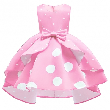 Lovely Sweet Dot Print Pink Girl Knee Length Dress