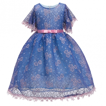 Lovely Trendy Lace Hem Deep Blue Girl Mid Calf Dress