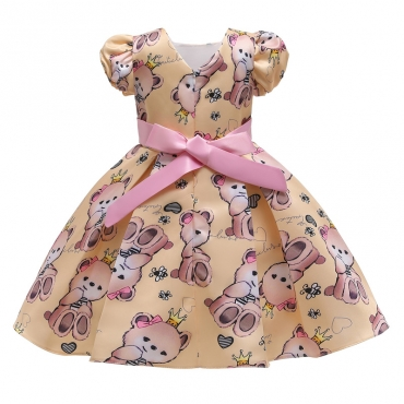 Lovely Stylish Cartoon Print Yellow Girl Knee Length Dress