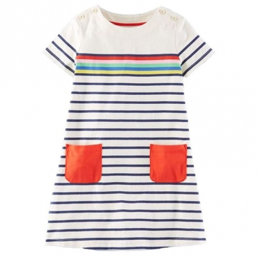 Lovely Sweet Striped Multicolor Girl Knee Length Dress
