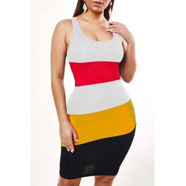 Lovely Leisure Striped White Knee Length Dress
