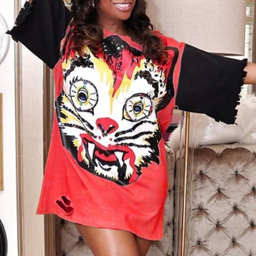 Lovely Casual O Neck Print Red Mini T-shirt Dress