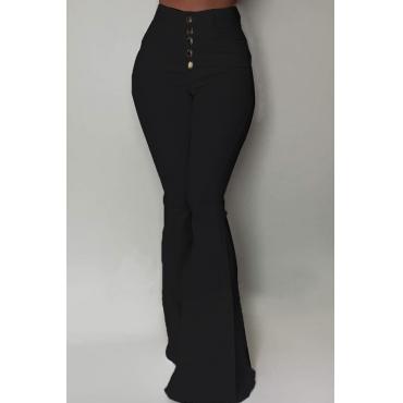 Lovely Stylish Buttons Design Black Pants