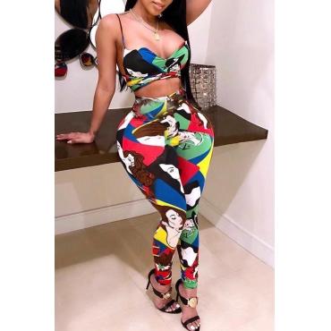 Lovely Casual Print Multicolor Plus Size Two-piece Pants Set