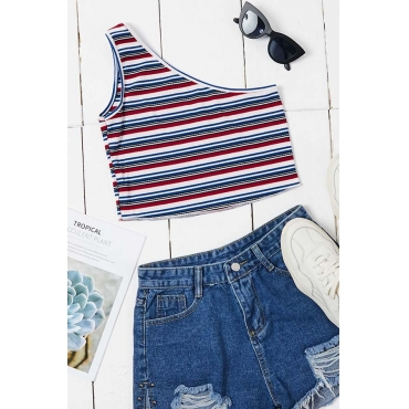 Lovely Trendy One Shoulder Striped Camisole