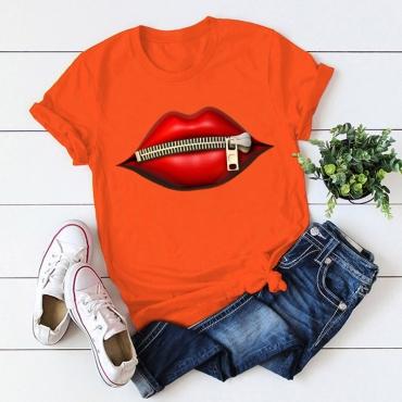 Lovely Casual O Neck Lip Print Orange T-shirt