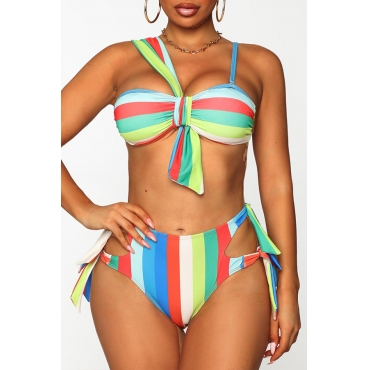 Lovely Striped Multicolor Two-piece Swimsuit