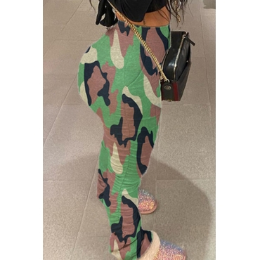 Lovely Casual Camo Print Plus Size Pants