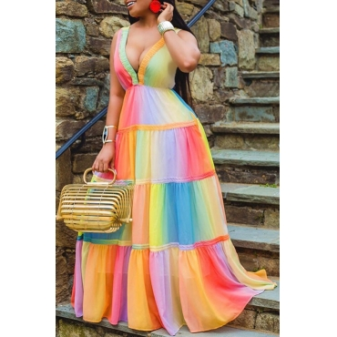 Lovely Trendy Rainbow Striped Multicolor Maxi Dress