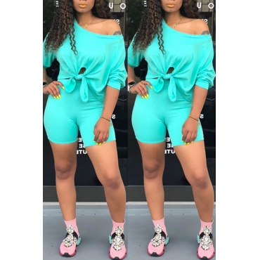 Lovely Leisure Basic Skyblue Two-piece Shorts Set