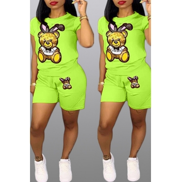 Lovely Casual Cartoon Print Green Two-piece Shorts Set