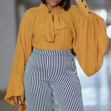Lovely Trendy Lace-up Yellow Blouse