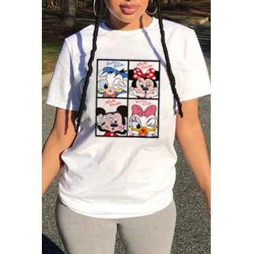 Lovely Casual O Neck Cartoon Print White T-shirt