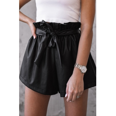 Lovely Casual Lace-up Black Shorts