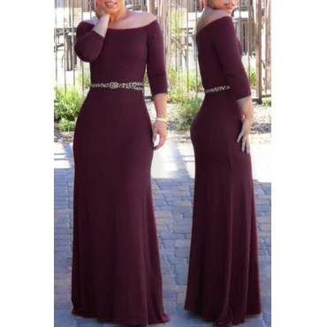 Lovely Bohemian Dew Shoulder Wine Red Maxi Dress
