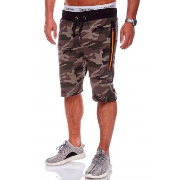 Lovely Trendy Camo Print Army Green Shorts