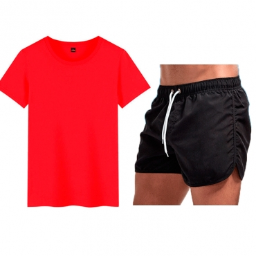 Lovely Sportswear Fold Design Red Two-piece Shorts Set