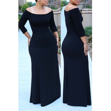 Lovely Bohemian Dew Shoulder Black Maxi Plus Size Dress