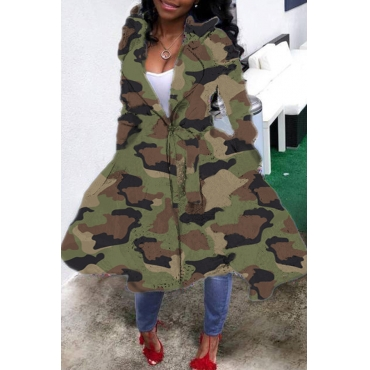 Lovely Casual Camo Print Plus Size Coat