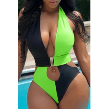 Lovely Cut-Out Green One-piece Swimsuit