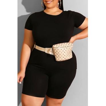 Lovely Leisure Basic Black Plus Size Two-piece Shorts Set
