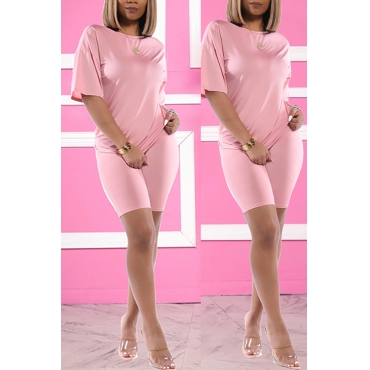 Lovely Trendy Basic Pink Two-piece Shorts Set