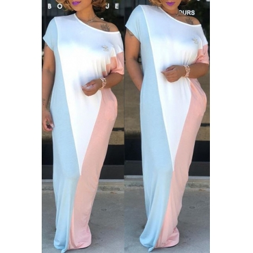 Lovely Leisure Patchwork Baby Blue Maxi Dress