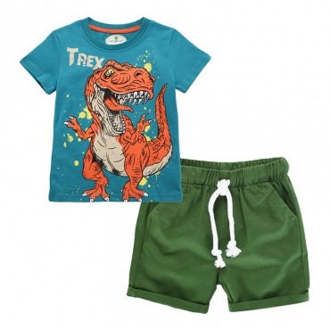 Lovely Leisure O Neck Cartoon Print Blue Boy Two-piece Shorts Set