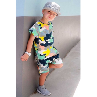 Lovely Casual Print Multicolor Boy Two-piece Shorts Set