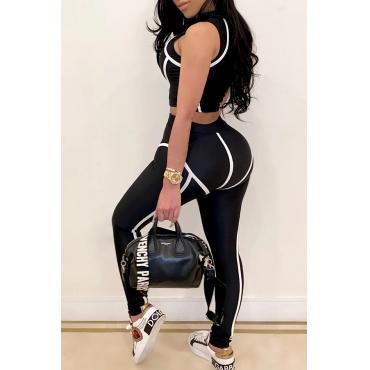 Lovely Sportswear Patchwork Black Two-piece Pants Set