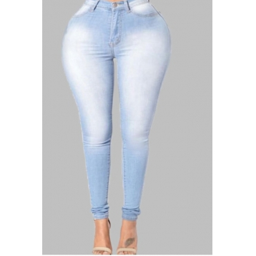 Lovely Casual Buttons Design Baby Blue Plus Size Jeans