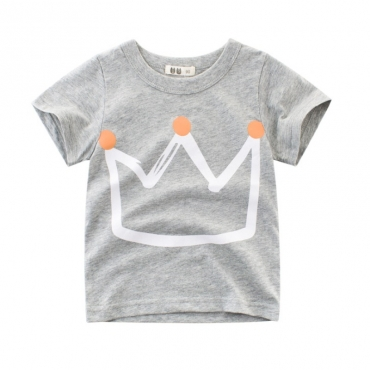 Lovely Casual O Neck Print Grey Boy T-shirt