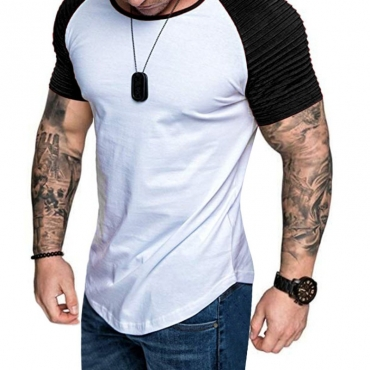 Lovely Leisure O Neck Patchwork Black T-shirt