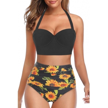 Lovely Print Black Two-piece Swimsuit