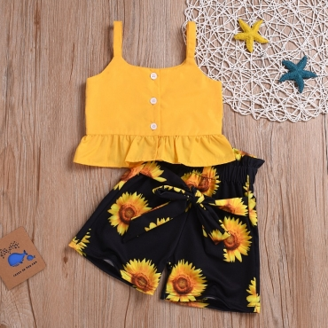 Lovely Stylish Sunflower Print Yellow Girl Two-piece Shorts Set
