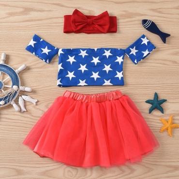 Lovely Sweet Print Blue Girl Two-piece Skirt Set