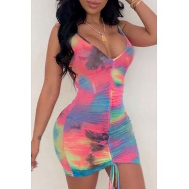 Lovely Trendy Tie-dye Multicolor Mini Dress